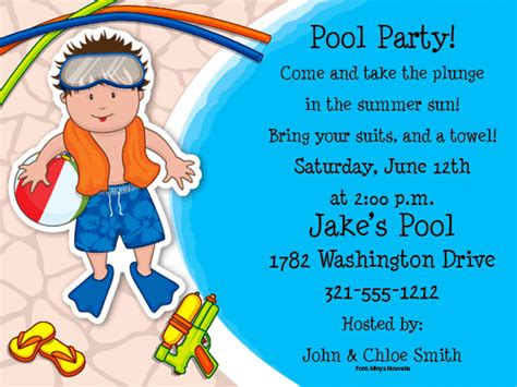 Simple Home Decoration For Birthday boys pool party invitations diy a simple pool party
