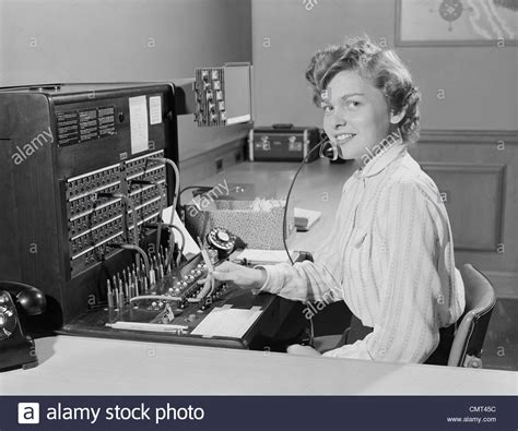 Phone Lookup Switchboard 1950s Smiling Office Telephone Switchboard Operator Stock Photo Royalty Free
