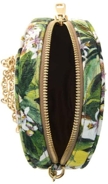 dolce gabbana glam floral brocade crossbody bag  green