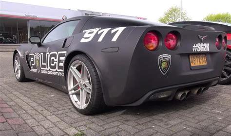 police corvette video fake corvette z06 police car goes on a donut run