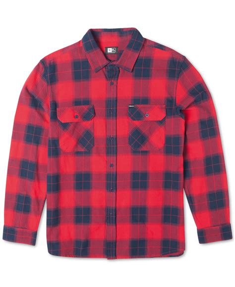 Jaket Sweater Ripcurl Logo Pink Maroon rip curl ruggles plaid flannel sleeve shirt in for lyst