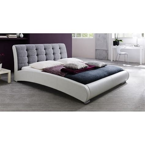 White Leather Sleigh Bed Guerin Leather Upholstered Sleigh Bed In White Cf8540 White Grey