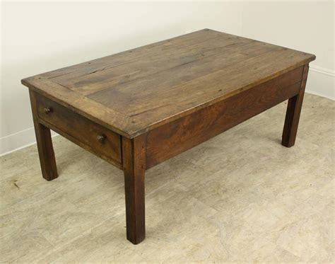 antique oak country coffee table two drawers at