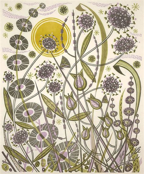 pattern print artists angie lewin skye sun linocut print floral pattern