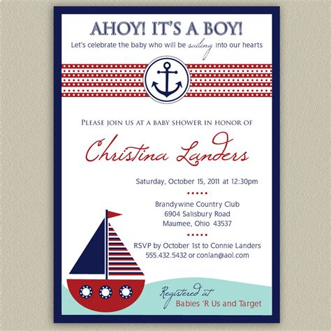 ahoy it s a boy nautical baby shower invitation by doubleudesign