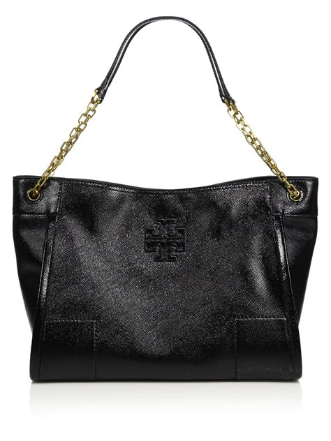 Burch Patent Leather Tote by Burch Black Britten Textured Patent Leather Chain