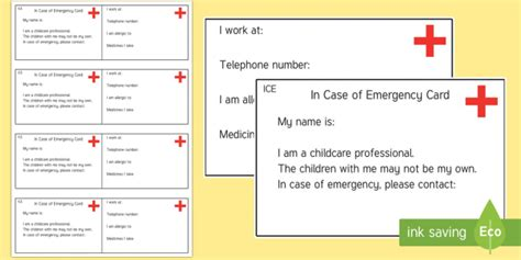 Emergency Contact Card Template Uk by In Of Emergency Information Cards Information
