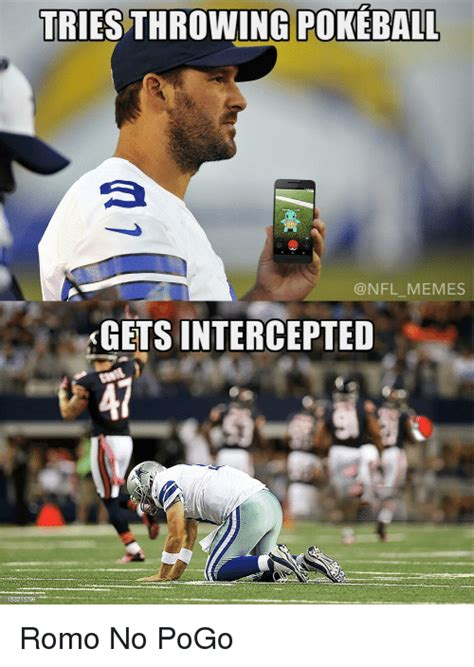 Romo Interception Meme - tries throwing pokeball nfl memes gets intercepted