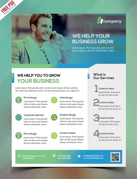 business flyer template free clean business flyer template free psd psdfreebies