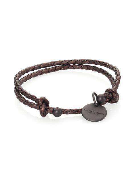 Bottega Bracelet bottega veneta braided leather charm bracelet in brown bronze lyst