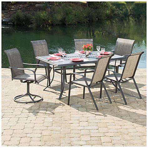 Patio Dining Sets At Big Lots View Wilson Fisher 174 Monterra 7 Sling Dining Set