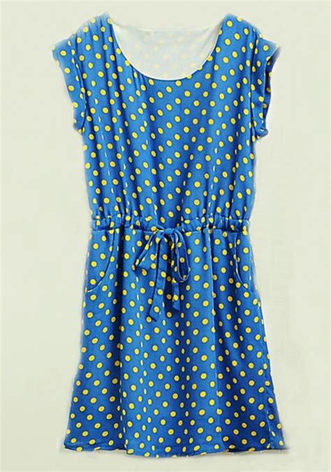Polka Dress Free Mini Belt blue belt polka dot print mini sleeve chiffon dress midi