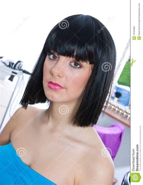 woman wearing black wig stock photography image 13161662