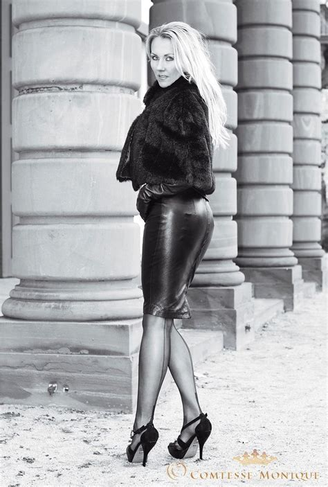 tight leather skirts stockings high heels tight black leather pencil skirt with visible garter bumps
