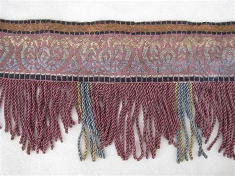 long curtain fringe 1880s vintage antique drapery trim rayon embroidery