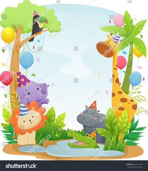 cute zoo wallpaper background illustration featuring cute safari animals
