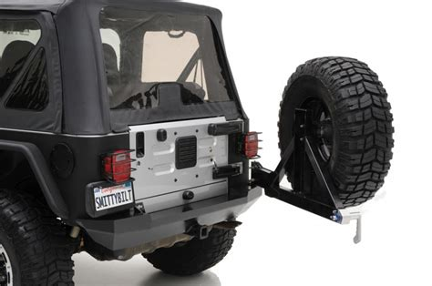 jeep swing out tire carrier smittybilt rear xrc bumper with swing out tire carrier in