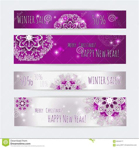 Winter Sale Vector New Year Web Design Banner Templates Set Stock Vector Illustration 60549177 Winter Banner Templates