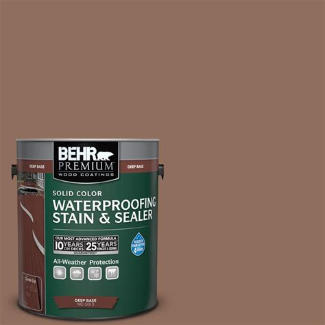 behr premium 1 gal sc 148 adobe brown solid color waterproofing stain and sealer 501301 the