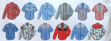 pattern western shirt boys and girls western shirt sewing pattern uncut simplicity