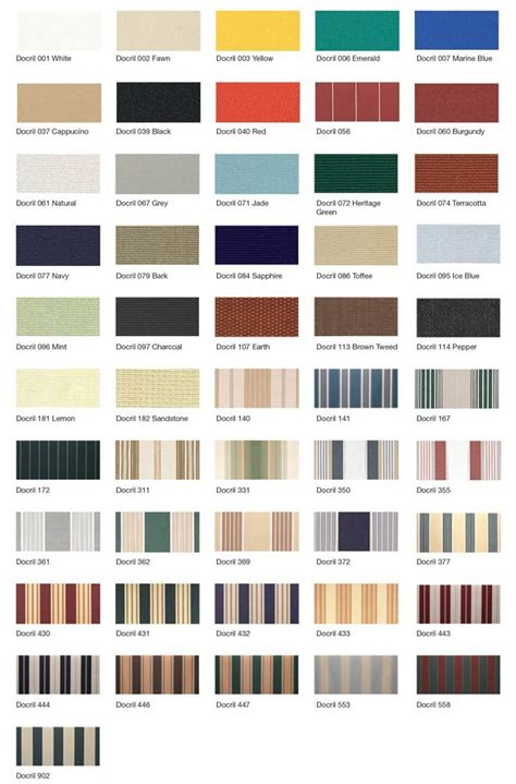 Awning Colours residential and commercial outdoor blinds colours and fabrics available