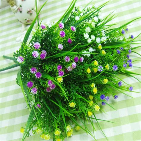 Home Decor Fake Flowers by Small Artificial Green Plants Grass Fake Floral Plastic