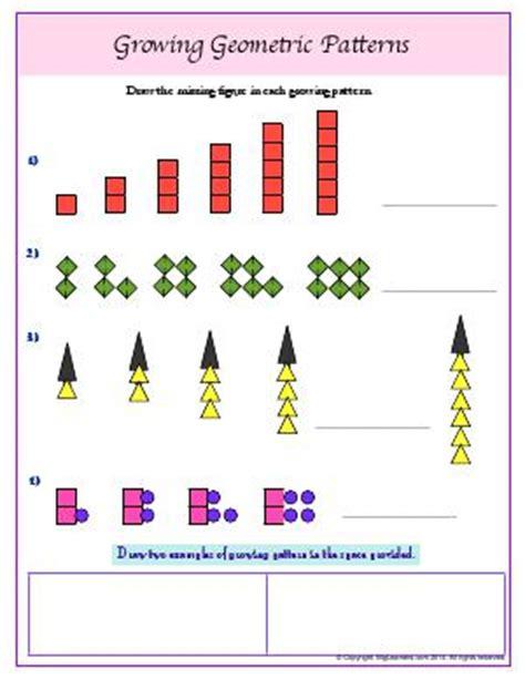geometric growing pattern patterns third grade math worksheets biglearners
