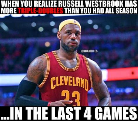 Westbrook Meme - lebron when he found out about russell westbrook s triple