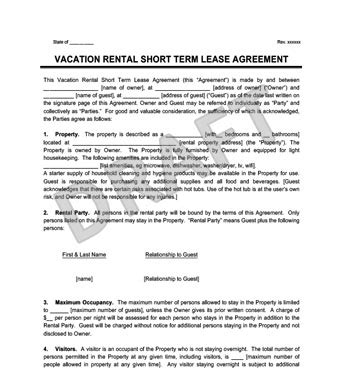Vacation Rental Short Term Lease Agreement Create Download Condo Rental Agreement Template
