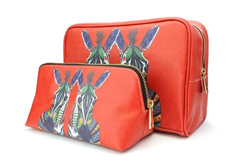 Miniature Travelling Gift Set With Pouch 062 travel gift set zebra vegan leather make up wash bag ethical market