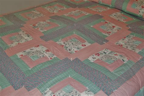 Green Patchwork Quilt - log cabin patchwork quilt country blue green pink