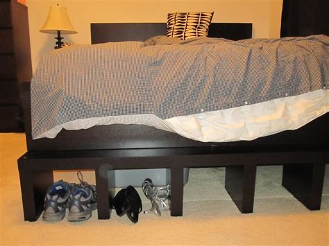 ikea malm bed frame hack ikea hackers elevated malm cleverness pinterest