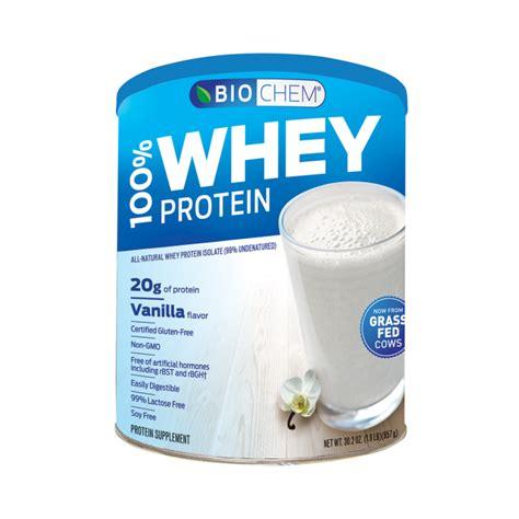 b protein powder vanilla biochem 100 whey protein powder vanilla 1 8 lbs 857