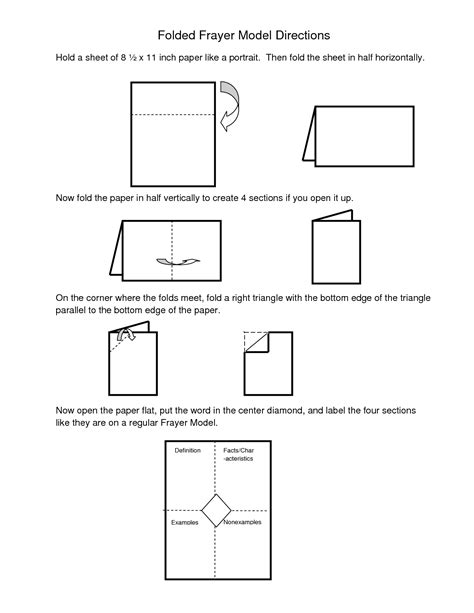 Frayer Cards Templates by Frayer Model Template Word Directions For Folded Frayer
