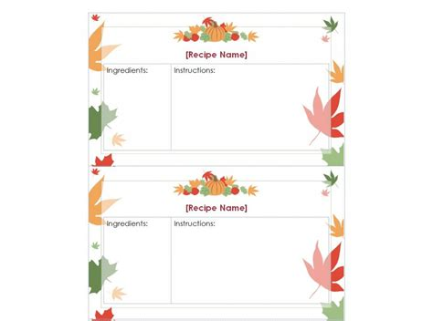 Thanksgiving Card Template For by Thanksgiving Recipe Cards Printable Thanksgiving Recipe