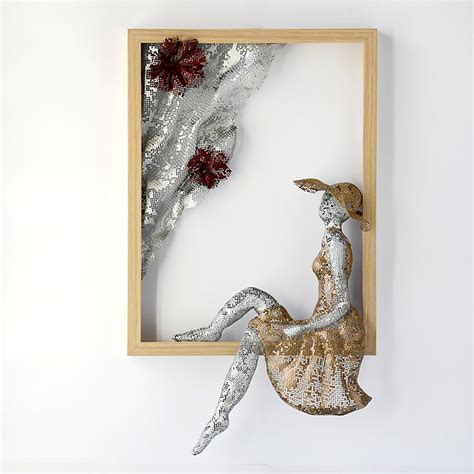 Metal wall art framed art women sculpture home decor