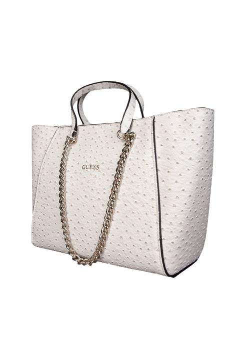 Couture Guess Who Bodyguard With The Couture Purse by Guess Ostrich Skin Design Tote Bag In White And Royal Blue