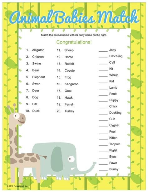 printable animal babies match game 61 best images about erinn s noah s ark baby shower on