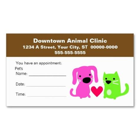 veterinary reminder card template veterinary appointment card