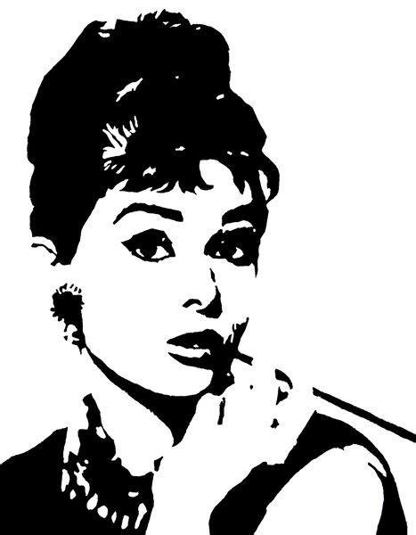 Printed Top 222038 hepburn monochrome pop black white stencil painted acrylic portrait