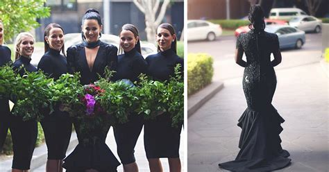 bride breaks tradition and gets married in black wedding
