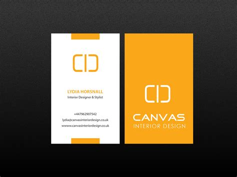 Bold, Upmarket Business Card Design for Canvas Interior Design by Creations Box 2015 Design