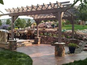 Pergola With Walls by Rough Sawn Timber Pergola Stone Piers Rock Retaining