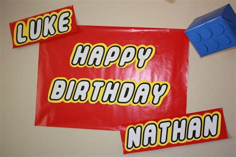 lego party decorations banner made with legothick font