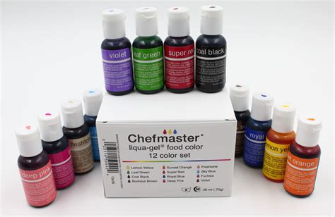 chefmaster food coloring chefmaster liqua gel paste food color 70oz 12 color kit