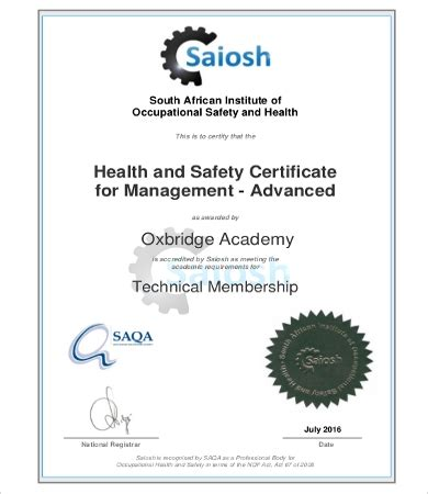 health and safety certificate template safety management certificates 7 sle exle