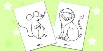 lion mouse colouring sheets colouring colour