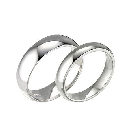 his hers 18ct white gold wedding rings 2mm 5mm d