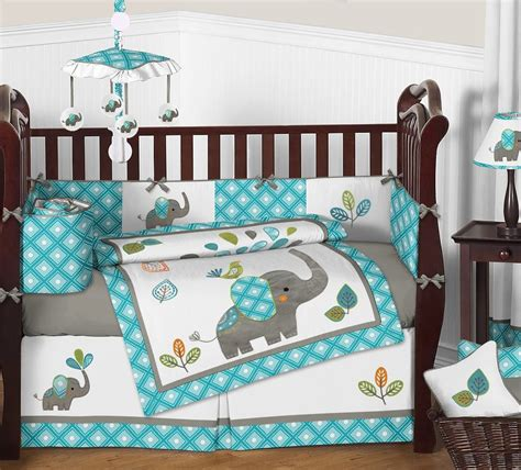 sweet jojo designs mod elephant 9 crib bedding set