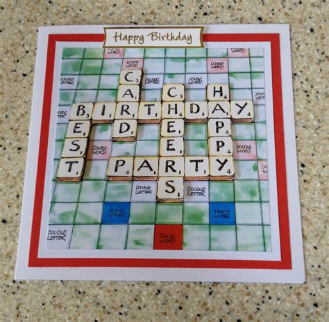 scrabble card handmade happy birthday 3d decoupage scrabble board